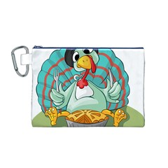 Pie Turkey Eating Fork Knife Hat Canvas Cosmetic Bag (m) by Nexatart