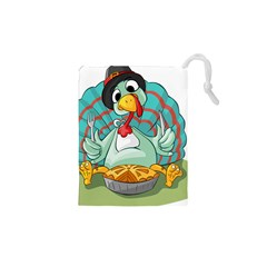 Pie Turkey Eating Fork Knife Hat Drawstring Pouches (xs)  by Nexatart