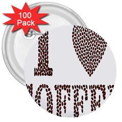 Love Heart Romance Passion 3  Buttons (100 Pack)  by Nexatart