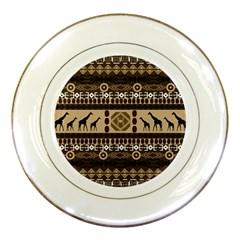Giraffe African Vector Pattern Porcelain Plates by BangZart