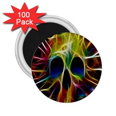 Skulls Multicolor Fractalius Colors Colorful 2 25  Magnets (100 Pack)  by BangZart