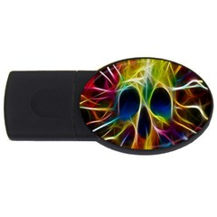 Skulls Multicolor Fractalius Colors Colorful Usb Flash Drive Oval (4 Gb) by BangZart