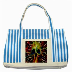 Skulls Multicolor Fractalius Colors Colorful Striped Blue Tote Bag by BangZart