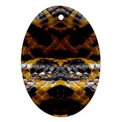 Textures Snake Skin Patterns Oval Ornament (two Sides)