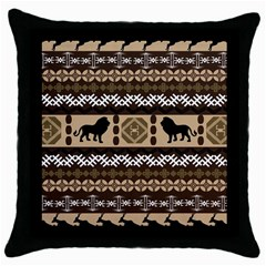 Lion African Vector Pattern Throw Pillow Case (black)