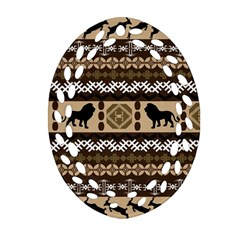 Lion African Vector Pattern Oval Filigree Ornament (two Sides) by BangZart