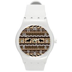 Lion African Vector Pattern Round Plastic Sport Watch (m) by BangZart