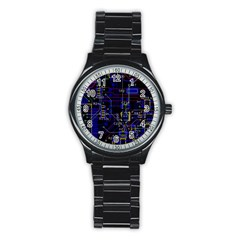 Technology Circuit Board Layout Stainless Steel Round Watch by BangZart
