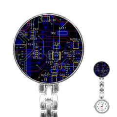 Technology Circuit Board Layout Stainless Steel Nurses Watch by BangZart