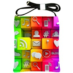 Colorful 3d Social Media Shoulder Sling Bags by BangZart