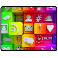 Colorful 3d Social Media Fleece Blanket (medium)  by BangZart