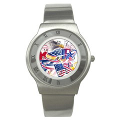 United States Of America Usa  Images Independence Day Stainless Steel Watch by BangZart