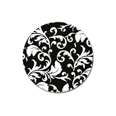 Vector Classicaltr Aditional Black And White Floral Patterns Magnet 3  (round)