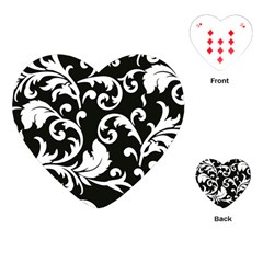 Vector Classicaltr Aditional Black And White Floral Patterns Playing Cards (heart)