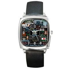 Book Quote Collage Square Metal Watch by BangZart