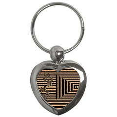 Wooden Pause Play Paws Abstract Oparton Line Roulette Spin Key Chains (heart)  by BangZart