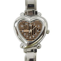 Wooden Pause Play Paws Abstract Oparton Line Roulette Spin Heart Italian Charm Watch