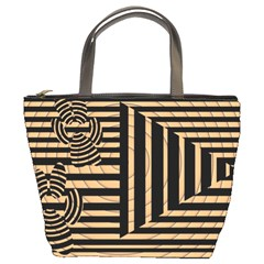 Wooden Pause Play Paws Abstract Oparton Line Roulette Spin Bucket Bags by BangZart