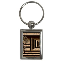 Wooden Pause Play Paws Abstract Oparton Line Roulette Spin Key Chains (rectangle)  by BangZart