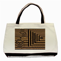 Wooden Pause Play Paws Abstract Oparton Line Roulette Spin Basic Tote Bag by BangZart