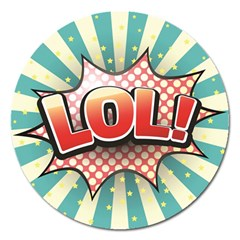 Lol Comic Speech Bubble  Vector Illustration Magnet 5  (round) by BangZart