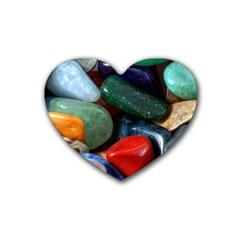Stones Colors Pattern Pebbles Macro Rocks Heart Coaster (4 Pack)  by BangZart
