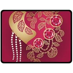Love Heart Fleece Blanket (large)  by BangZart