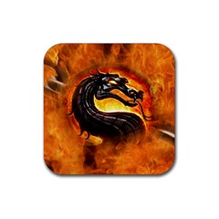 Dragon And Fire Rubber Square Coaster (4 Pack)  by BangZart