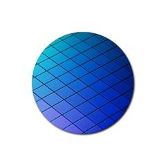 Blue Pattern Plain Cartoon Rubber Coaster (round)  by BangZart