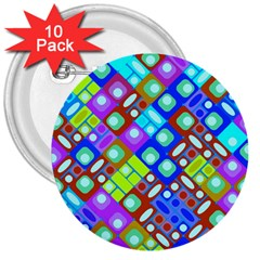 Pattern Factory 32b 3  Buttons (10 Pack)  by MoreColorsinLife