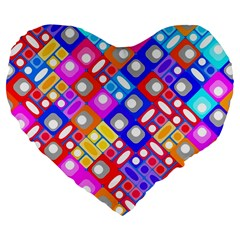 Pattern Factory 32a Large 19  Premium Flano Heart Shape Cushions by MoreColorsinLife
