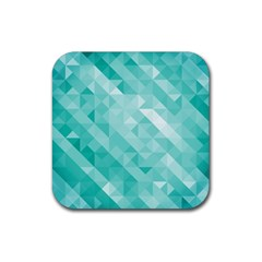 Bright Blue Turquoise Polygonal Background Rubber Square Coaster (4 Pack)  by TastefulDesigns