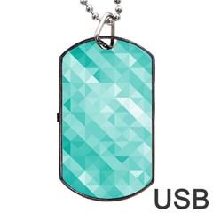 Bright Blue Turquoise Polygonal Background Dog Tag Usb Flash (one Side) by TastefulDesigns