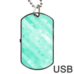 Bright Green Turquoise Geometric Background Dog Tag Usb Flash (two Sides) by TastefulDesigns