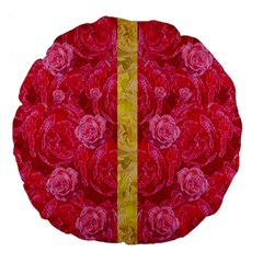 Rose And Roses And Another Rose Large 18  Premium Flano Round Cushions by pepitasart