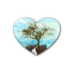 Single Tree Rubber Coaster (heart)  by berwies