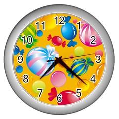 Sweets And Sugar Candies Vector  Wall Clocks (silver)  by BangZart