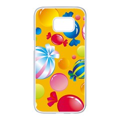 Sweets And Sugar Candies Vector  Samsung Galaxy S7 Edge White Seamless Case
