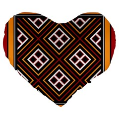 Toraja Pattern Pa re po  Sanguba ( Dancing Alone ) Large 19  Premium Flano Heart Shape Cushions by BangZart