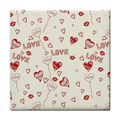 Pattern Hearts Kiss Love Lips Art Vector Tile Coasters