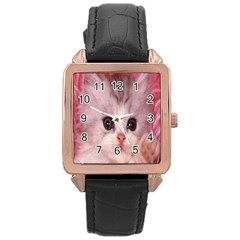 Cat  Animal  Kitten  Pet Rose Gold Leather Watch  by BangZart