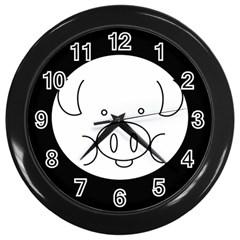 Pig Logo Wall Clocks (black) by BangZart