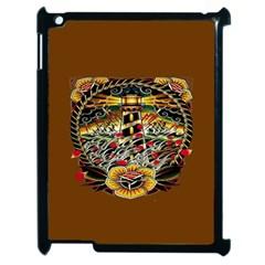 Tattoo Art Print Traditional Artwork Lighthouse Wave Apple Ipad 2 Case (black) by BangZart