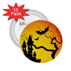 Halloween Night Terrors 2 25  Buttons (10 Pack)  by BangZart