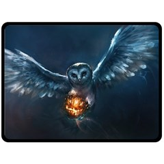 Owl And Fire Ball Double Sided Fleece Blanket (large)
