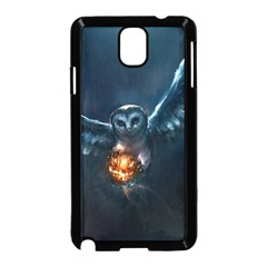 Owl And Fire Ball Samsung Galaxy Note 3 Neo Hardshell Case (black) by BangZart