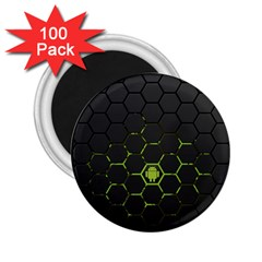 Green Android Honeycomb Gree 2 25  Magnets (100 Pack)  by BangZart