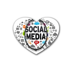 Social Media Computer Internet Typography Text Poster Heart Coaster (4 Pack)  by BangZart