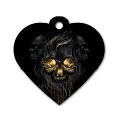 Art Fiction Black Skeletons Skull Smoke Dog Tag Heart (one Side) by BangZart