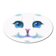 Cute White Cat Blue Eyes Face Oval Magnet by BangZart